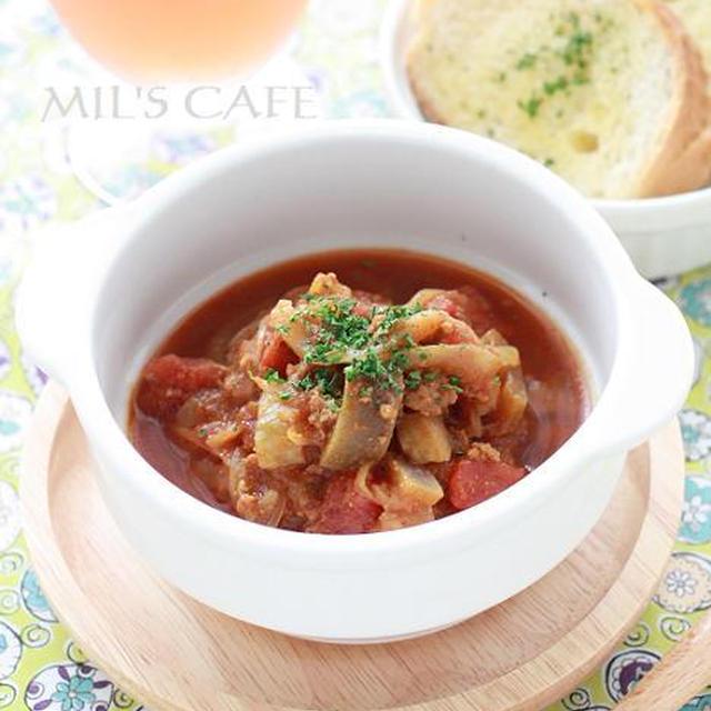 簡単レンチンレシピ!*茄子とトマトとひき肉のカレー*