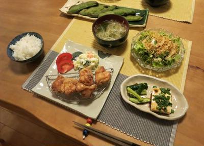 新作:キウイの角皿で唐揚の晩ご飯 と 虹 と アルストロメリアの花♪