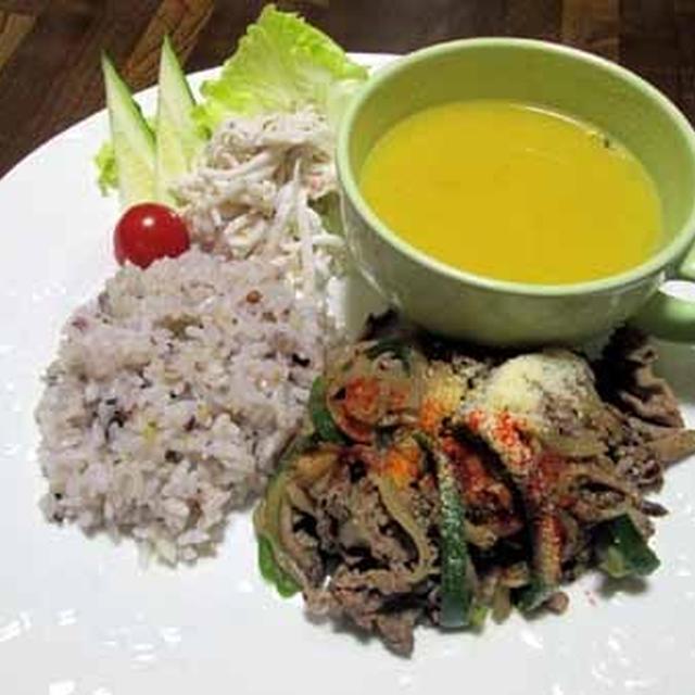 やさしい味わい☆牛肉と野菜のコンソメ風炒めランチ