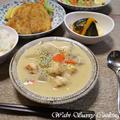 胸肉レシピ ~ 鶏ミートボールと冬瓜、里芋のクリームシチュー ~