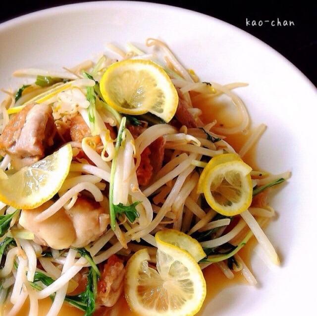鶏肉と水菜のレモン炒め