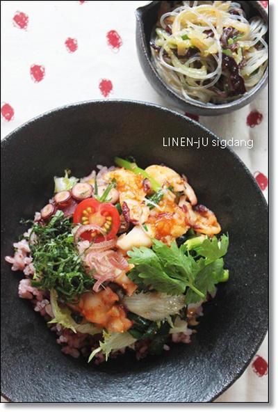 韓流タコ丼とフルーツのフルフル豆乳スイーツ