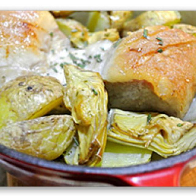 豚バラ肉とアーティチョークの蒸し焼き【asserole Porc et Artichaut】