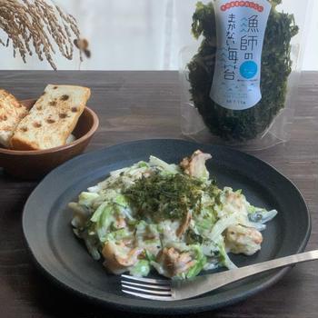 前田屋さんの海苔でホタテと白菜のクリーム煮