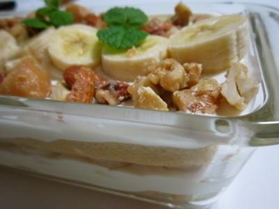 バナナとキャラメルナッツのスコップケーキ! Banana and caramel nuts cake