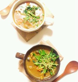 フライパン1つで超簡単③♪話題の豆苗を使った若返りCafe風カレースープ☆