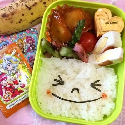 2015/02/27 幼稚園弁当☆楽チン LINEムーン キャラ弁(>▽<)