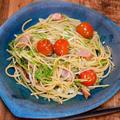 新しい器で「トマトと水菜のペペロンチーノ」&「くらこん昆布だし風うどん」がけっこう