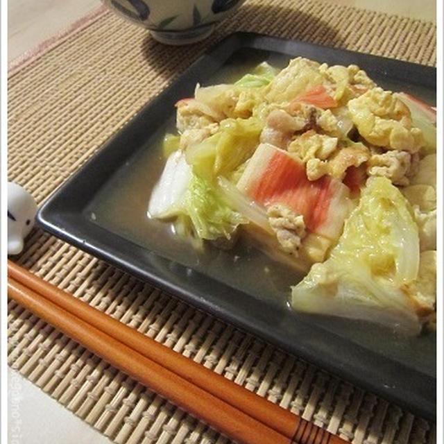 残りものであんがけ!野菜と豆腐をウマ煮で作戦♪雑煮風の野菜スープもいい感じ。