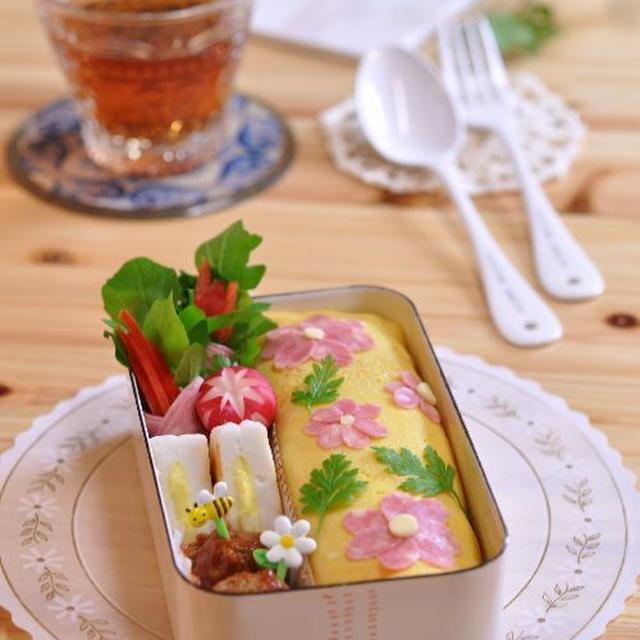 冷凍ストックで簡単に!花のオムライスのお弁当♪