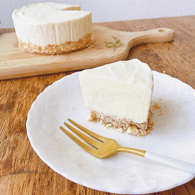 【材料4つ】泡立て不要!ゼラチンなし!混ぜて冷やすだけ♪なめらかレアチーズケーキの作り方