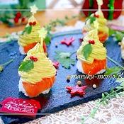 簡単!クリスマスツリーのアボカド手毬寿司