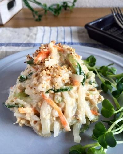 柚子胡椒香る♪大根とツナのごまマヨサラダ。簡単*作り置き