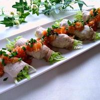 ぐんまクッキングアンバサダー♪レンジで簡単!キャベツの豚肉巻き~群馬県産トマトと生姜のドレッシング掛け~