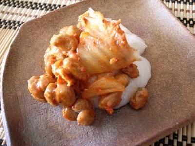 キムチ納豆餅