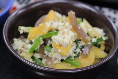 365日レシピNo.287「柿と小松菜の白和え」