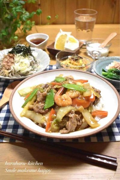 【レシピ】#中華丼#野菜たっぷり#丼もの…試合2日前の晩ごはん。
