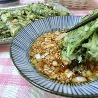 水菜とおかか海苔で和風チヂミ さっぱりピリ辛にんにくポン酢だれで♪