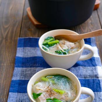 さっぱり旨塩!!豚バラもやしと小松菜の具沢山春雨スープ