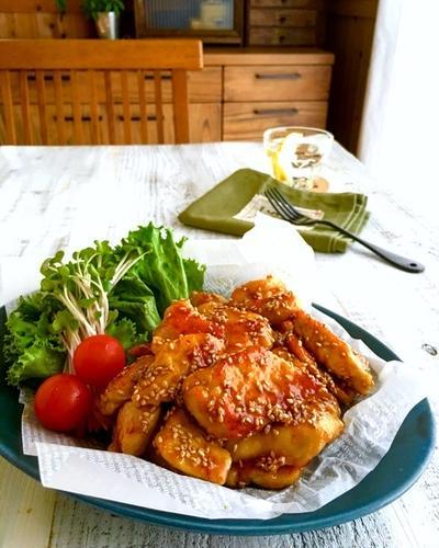 柔らか鶏むね肉の甘辛ゴマチキン☆フライパン*ポリ袋*節約*簡単☆おうちごはん