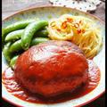 [肉が美味い!ふっくら柔らか♪] 珍獣家のハンバーグ と [レンジで!] ペペロンチーノ