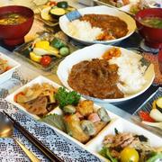 ■昼ご飯【ビーフカレー/切り干し五目煮/大根サラダ/空豆入りジャーマンポテト他】