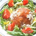 梅だれでサッパリ&旨いっ!セロリとキュウリと豚しゃぶのおかずサラダ。