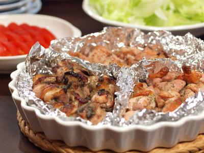 鶏もも肉のオーブン焼き、三種類の味で。