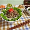 ヘルシー☆サラダ牛丼・桜えび・枝豆・三つ葉のひじきサラダ等・・の晩御飯