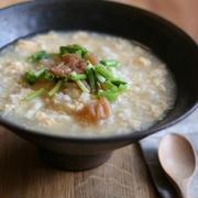 「かつおスープと梅の朝雑炊」
