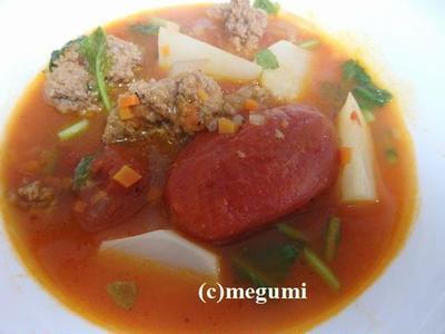 かぶと肉団子のトマトスープ