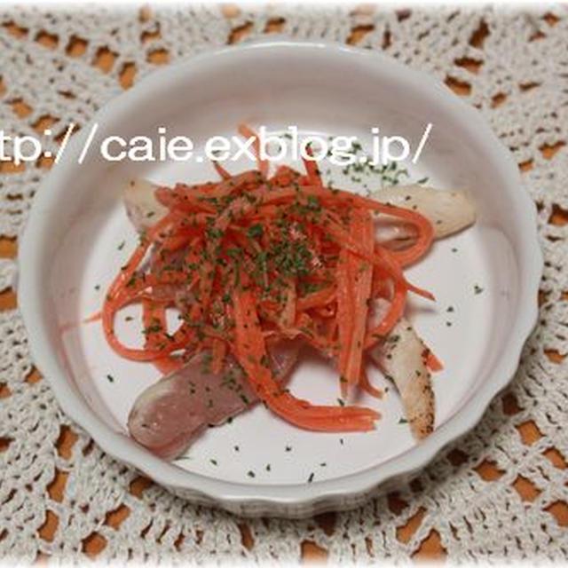 鶏タタキと人参セサミコールスローサラダ