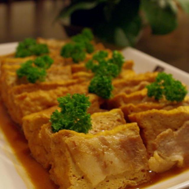 厚揚げと豚バラ肉の味噌煮込み