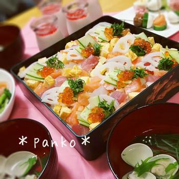 定番ちらし寿司でひな祭りパーティー