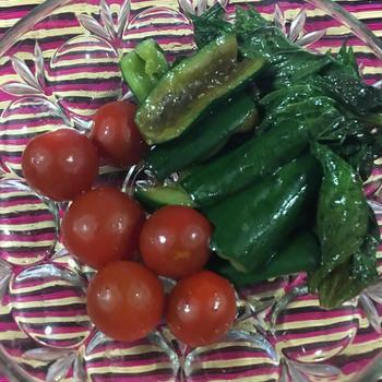 きゅうり、大葉、トマトのナンプラー漬け – Cucumber, Tomato, Shiso pickled with Nam Pla
