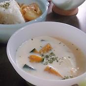 ごろっとかぼちゃの豆乳スープ♪