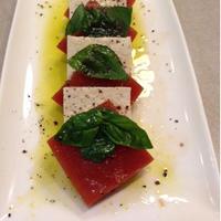 乾物イタリアン「野菜ジュースと豆腐のヘルシーカプレーゼ」