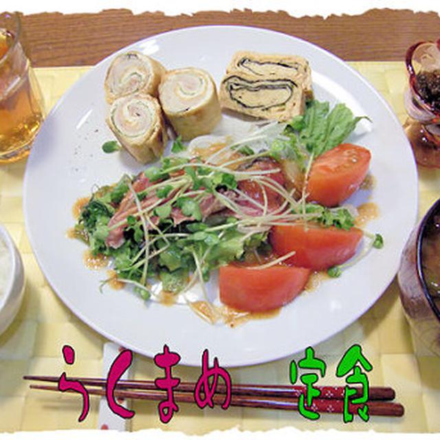 時間が無い日のメニュー「鰹のたたきサラダ」の定食♪ガレットブルトンヌつき