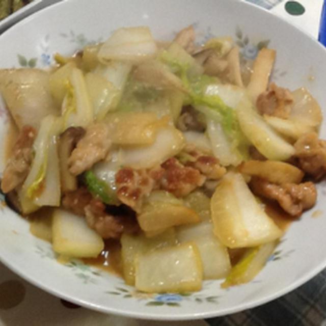 白菜とぶた肉の味噌マヨ炒め