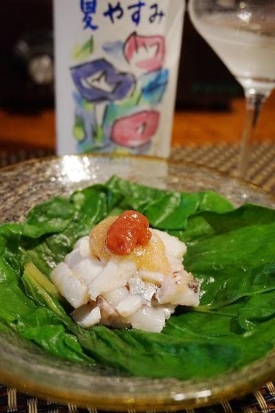 のし梅みず和え、太刀魚おとし、鰹のなめろう、こごみのあんきも味噌和えで一献