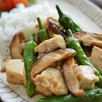 姉さんがウマいと泣いた、豆腐と椎茸としし唐の甘辛炒め (注:ごく普通の料理です・笑)