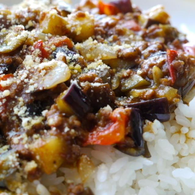 茄子とトマトのカレー炒めご飯