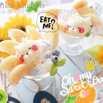 桃たっぷり♡うさまるパフェ
