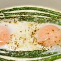温泉卵のようなピュアでトロリとした味わいの『グリーンアスパラガスと卵のオーブン焼き』