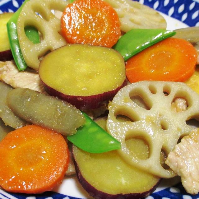 根菜と豚こまの生姜炒め<秋色の豊かな味わい>