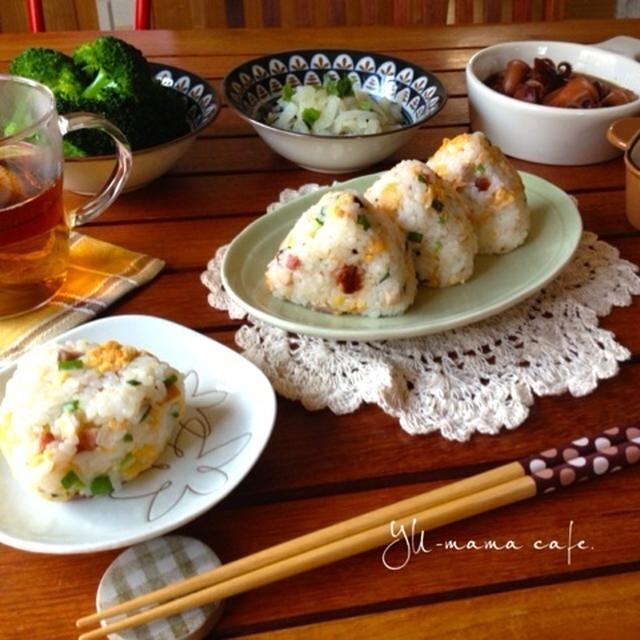 お弁当と朝ごはん〜焼豚と卵のネギ塩おにぎり〜
