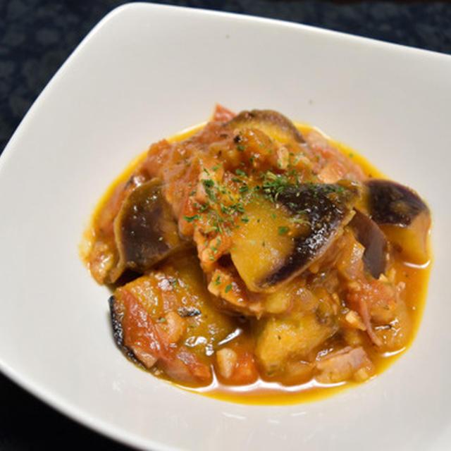 トマトとなすの炒め煮【ぐんまクッキングアンバサダー】うまみたっぷり超簡単おつまみ、パスタにしても。