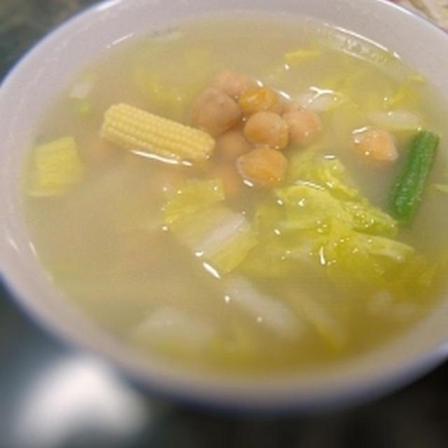 ひよこ豆と白菜のスープ