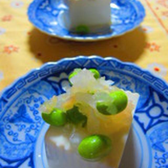 「冷奴~枝豆と玉葱の新生姜マリネ添え~」