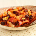 秋の果物レシピ【自然の甘味!くるみ入りりんごのレーズン煮】